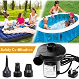 Oyria Electric Pump for Inflatable Paddling Pool Pump with 3 Nozzle Adapters Universal Valves Inflates and Deflates for Blow up Bed Electric Air Pump for Camping Sports