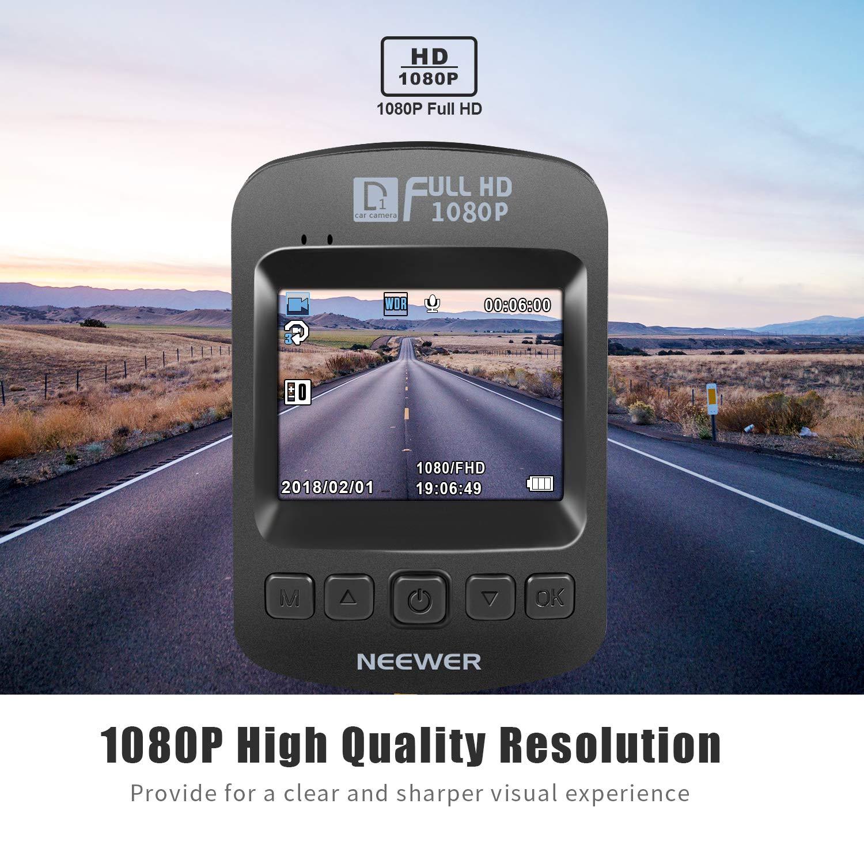 Neewer Cam/éra de Voiture D1 Dash Cam D/étection de Mouvement Enregistrement en Boucle DVR Enregistreur de Conduite Ecran LCD 2 Pouces 1080P HD 120/°Angle G-Capteur WDR Moniteur Parking