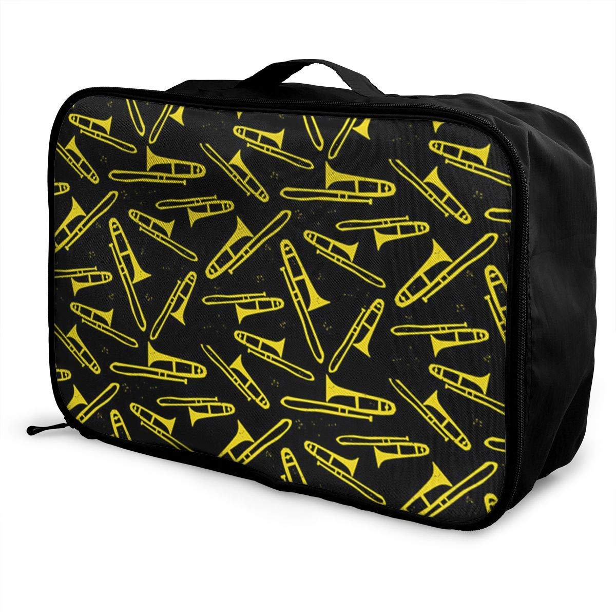 Portable Luggage Duffel Bag Black And Yellow Trombone Travel Bags Carry-on In Trolley Handle