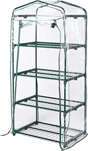 Aoxun 4 Tier Mini Greenhouse, PVC Waterproof Transparent Cover,Portable Garden with Zipper Opening Indoor Outdoor