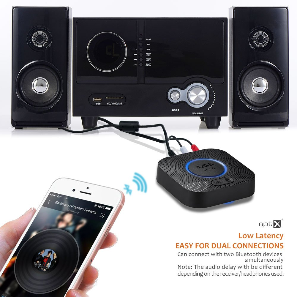 1Mii B06 Plus Bluetooth Receiver, HIFI Wireless Audio Adapter, Bluetooth 4.2 Receiver with 3D Surround aptX Low Latency for Home Music Streaming Stereo System (Upgraded With Power Adapter) by 1mii (Image #3)