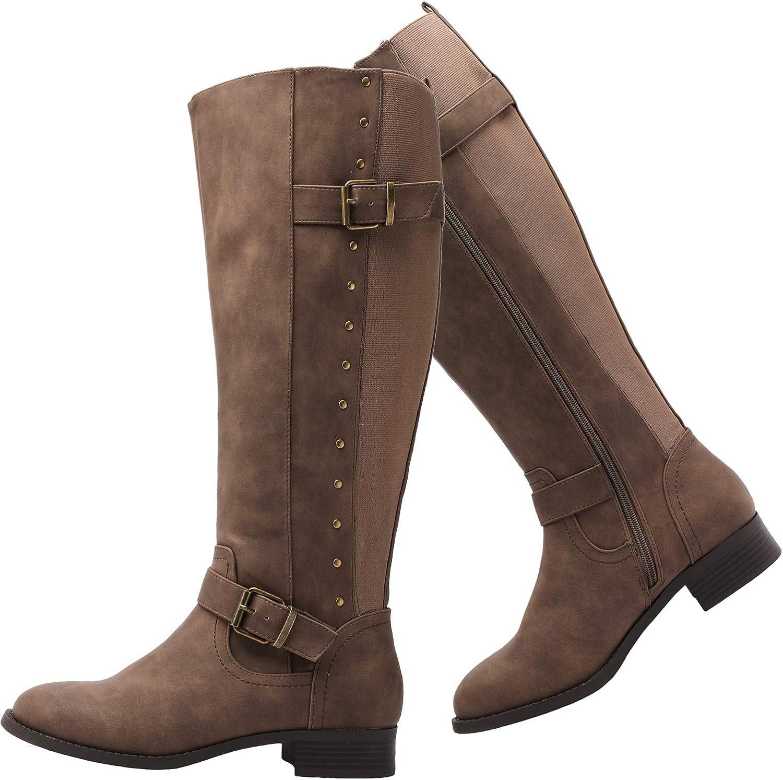 Luoika Women's Luxury goods Wide Width Knee Extra Winter Regular discount Boots Calf High