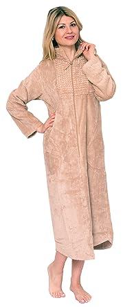 Bath Robes Womens Luxury Cotton Chenille Dressing Gown Zip