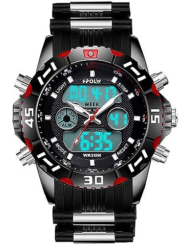Relojes Hombres Negros Reloj Militar Impermeable Deportivos Digital Hombre Reloj Cronógrafo Multifunción Analogicos Digital LED Alarma Día Fecha Calendario ...