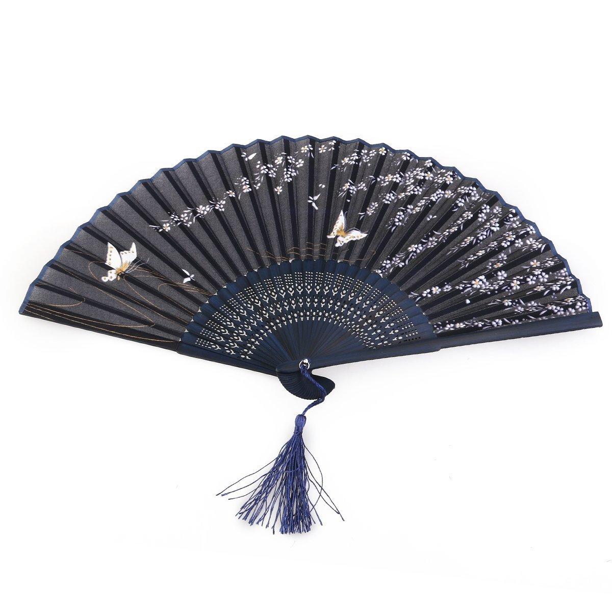 Anndeeson Women Folding Tassel Fan Butterfly Sakura Hand-hold Fan