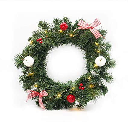 hometook christmas wreaths with lights for front door 12 inch artificial xmas pine wreath - Artificial Christmas Wreaths Decorated