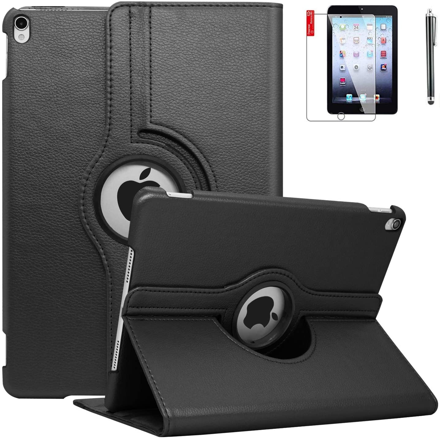 iPad Case 6th Generation with Screen Protector and Stylus - iPad 9.7 inch Air1 2018 2017 Case Cover - 360 Degree Rotating Stand, Auto Sleep Wake - A1822 A1823 (Deep Black)