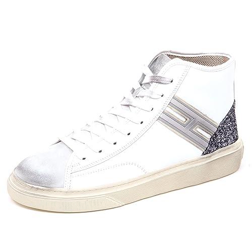 E0262 sneaker donna white HOGAN H342 HI TOP H flock glitter vintage shoe woman