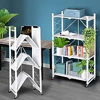 Foldable Storage Shelf Display Rack Bookshelf Bookcase Wheel Collapsible Cart 4 Tier