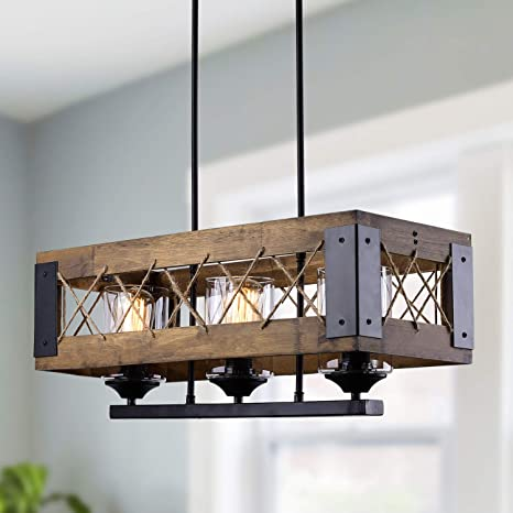 LALUZ Pendant Lighting for Kitchen Island, 3-Light Lantern Wooden  Chandelier in Painted Black Metal with Clear Glass Shades & Hemp-Ropes,  24\