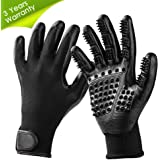 TWOPJ Pet Grooming Gloves, Pet Hair Removal Gentle Deshedding Brush Massage Tool with Adjustable Wrist Strap for Long and Short Hair Dogs, Cats, Horse -1 Pair