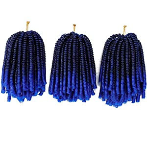 Ouyafei 3Pack Spring Twist Hair Blue Ombre Color Passion Twist Braid Hair 8inch Synthetic Kankelon Hair Extensions Fluffy Curly Bomb Twist Crochet Hair(300g/Lot,TBlue#)