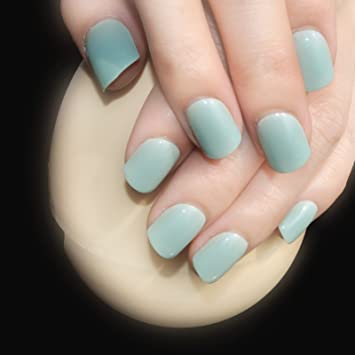 Amazon Daily Wear Candy Press On Nails Light Green Shiny Nail
