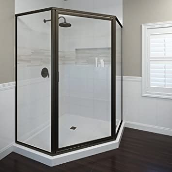 basco deluxe neo angle shower door clear glass oil rubbed bronze finish 17 x