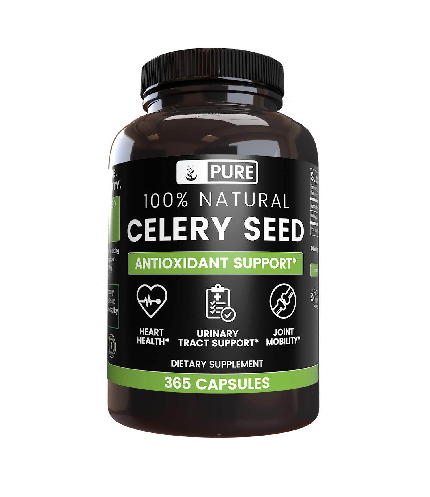100% Natural Celery Seed, 630mg, 6 Month Supply, No Rice Filler or Magnesium Stearate, 630 mg Pure Celery Seed with No Additives, Made in USA