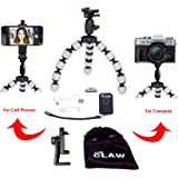 LARGE SIZE Flexible Phone Tripod Durable Camera Stand with Bluetooth Remote Shutter for IOS iPhone plus+ Adjustable & Bendable Octopus Legs Universal Attachment Mount to Stabilize Smartphone GoPro DSL