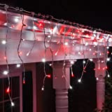 70 red cool white led icicle lights 75 white wire outdoor christmas lights - Red And White Outdoor Christmas Lights