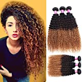 Allove Hair 8A Brazilian 3 Tone Ombre Color Kinky Curly Virgin Human Hair Bundles Human Curly Hair Bundles Extensions