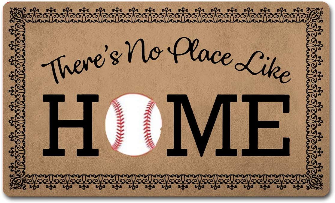 "Welcome Mat Funny Doormats Anti-Slip Mat for Entrance Way Indoor/Kitchen Mats and Rugs Welcome Area Rugs Rubber Mat 18""(W) x 30""(L) (There's No Place Like Home Baseball Home Plate)"