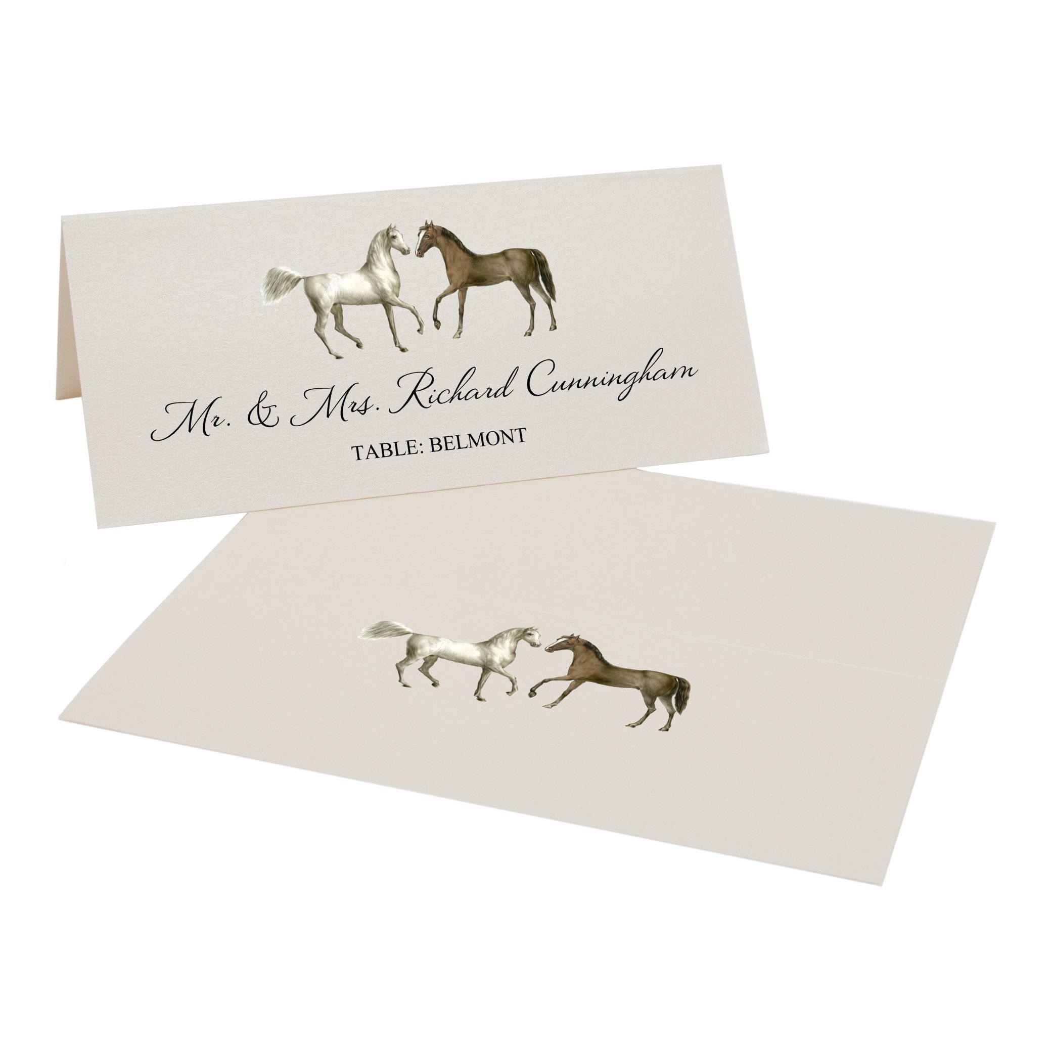 Two Horses Place Cards, Champagne, Set of 375 by Documents and Designs