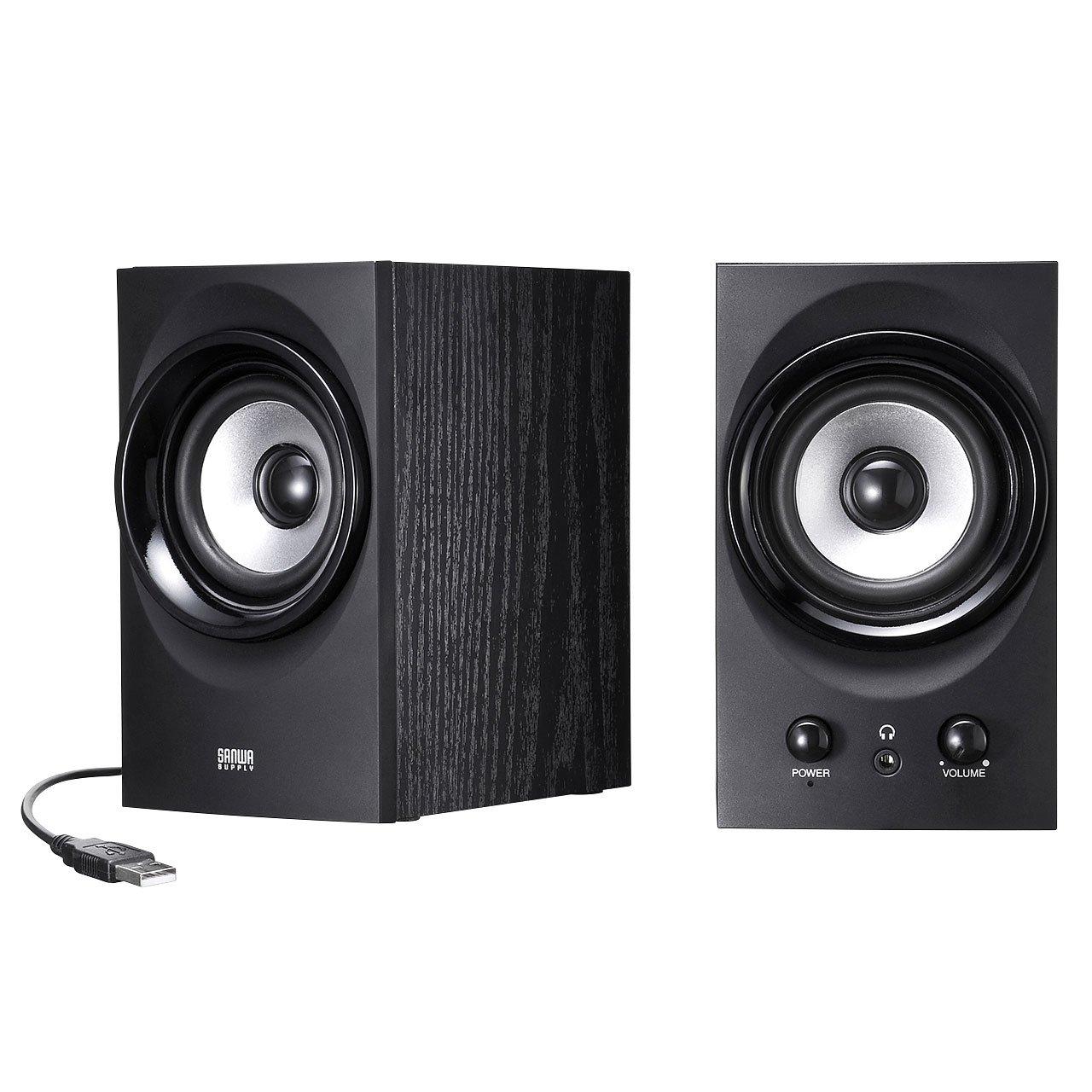 SANWA SUPPLY high-power USB speaker MM-SPU9BK (Black) by Sanwa (Image #1)