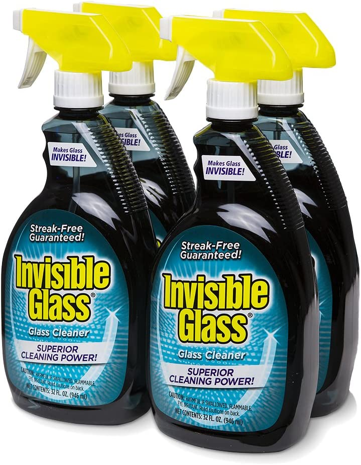 Invisible Glass 92194-4PK 32-Ounce Cleaner and Window Spray for Home and Auto for a Streak-Free Shine Film-Free Glass Cleaner and Safe for Tinted and Non-Tinted Windows and Windshield Film Remover
