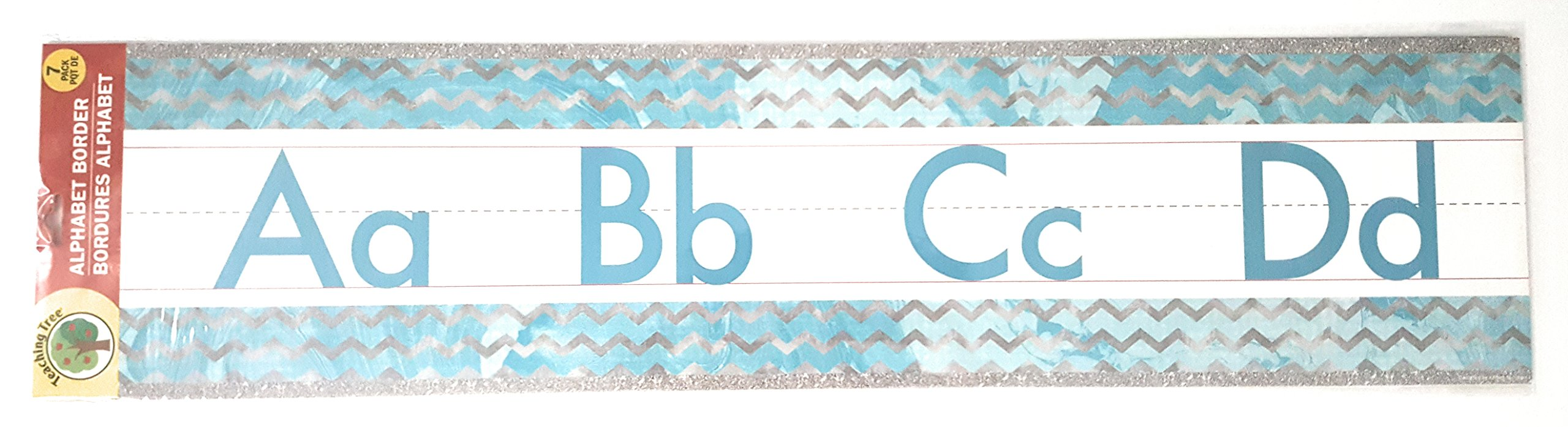 Teaching Tree Manuscript Alphabet Bulletin Back to School Board Creative Strips School Office Resources Scholastic Teacher Teacher's Bulletin Trim Wall Border Decal Classroom Decoration Blue Zigzag