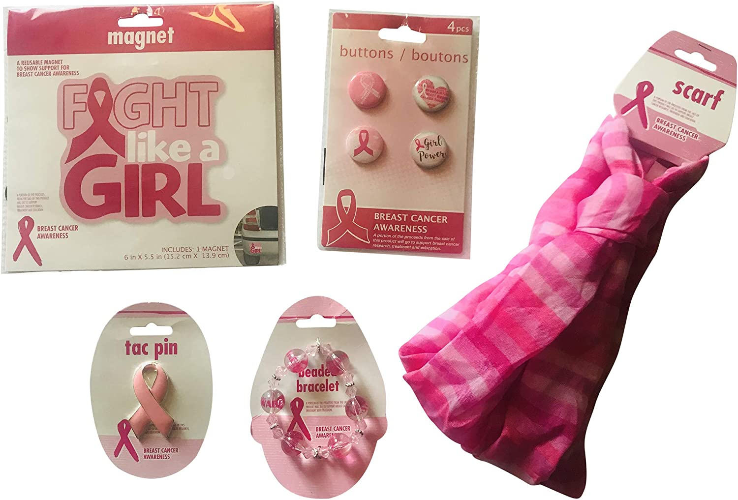 Amazon Com Breast Cancer Awareness Bundle Includes Buttons Magnet Tac Pin Beaded Bracelet And Scarf Health Personal Care