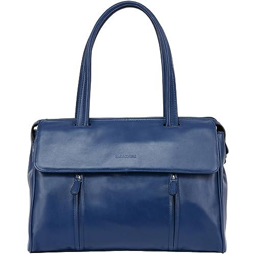 63d3ad0d410f Banuce Blue Real Leather Shoulder Handbags for Women Ladies Top Handle Bag  Busienss a4 Work Briefcase 14 Inch Laptop Bag
