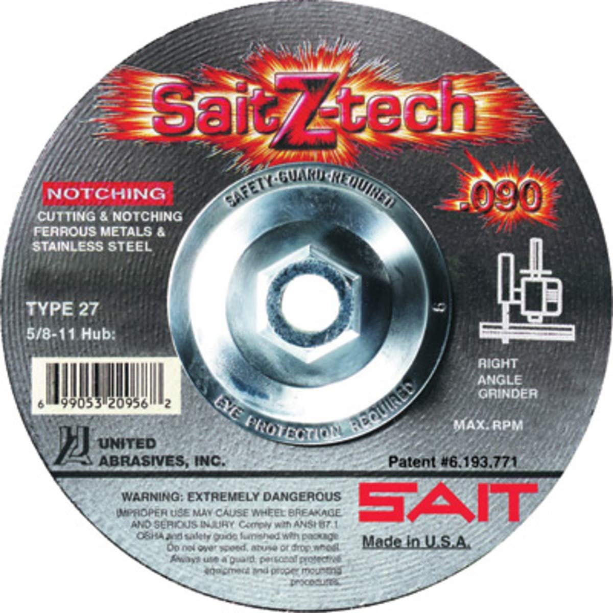 United Abrasives 4 1/2'' X .090'' X 5/8'' - 11 SaitZ-tech Zirconium Type 27 Cut Off Wheel, 10 Each