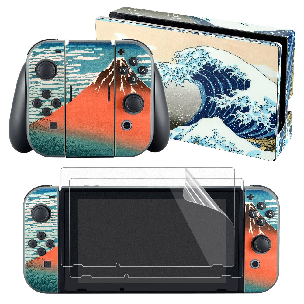 eXtremeRate The Great Wave Decals Stickers Full Set Faceplate Skin +2Pcs Screen Protector for Nintendo Switch Console & Joy-con Controller & Dock Protection Kit
