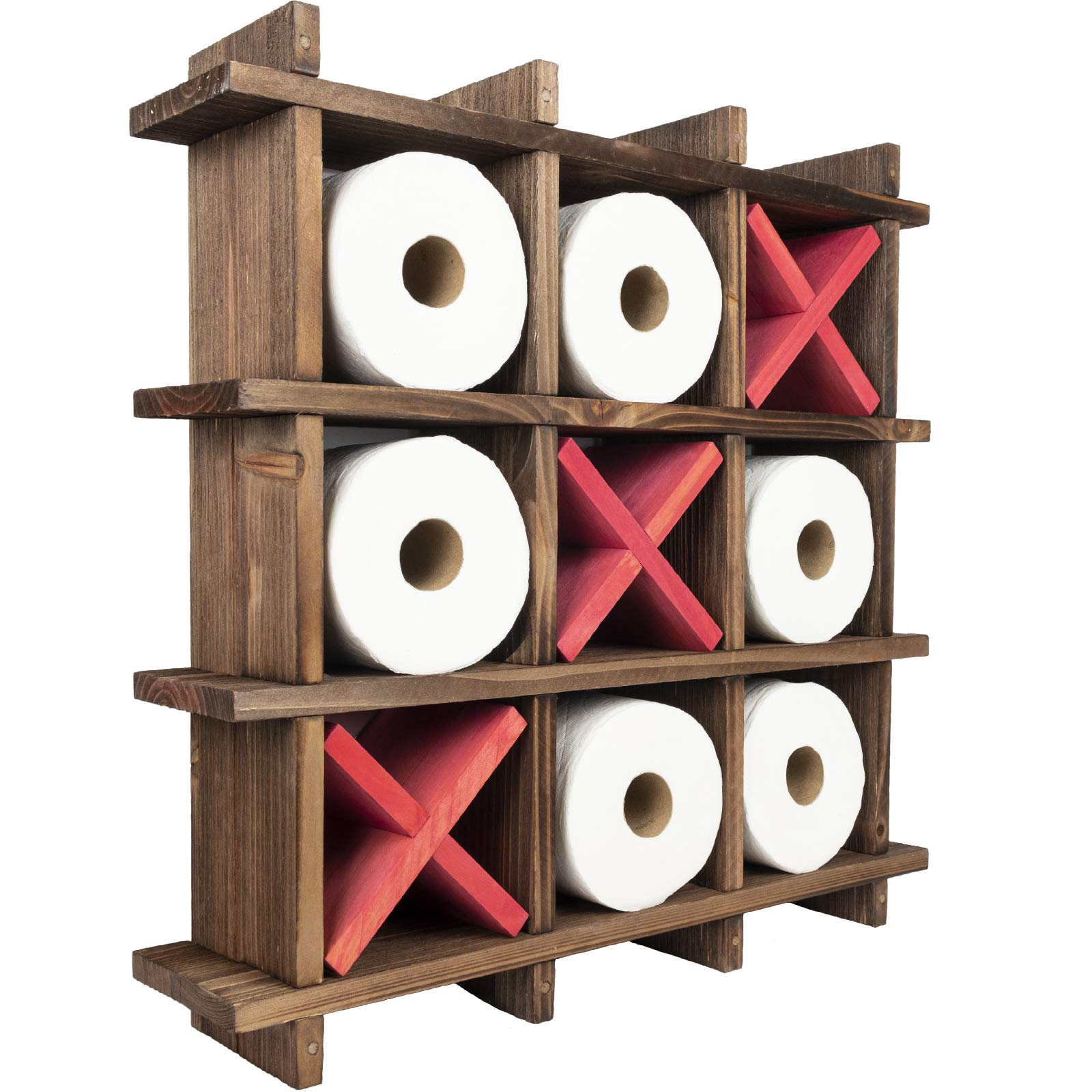 Excello Global Products Rustic Wooden Toilet Paper Holder: Tic Tac Toe Design for Wall Mounted or Freestanding Bathroom Tissue Roll Storage Organizer by Excello Global Products