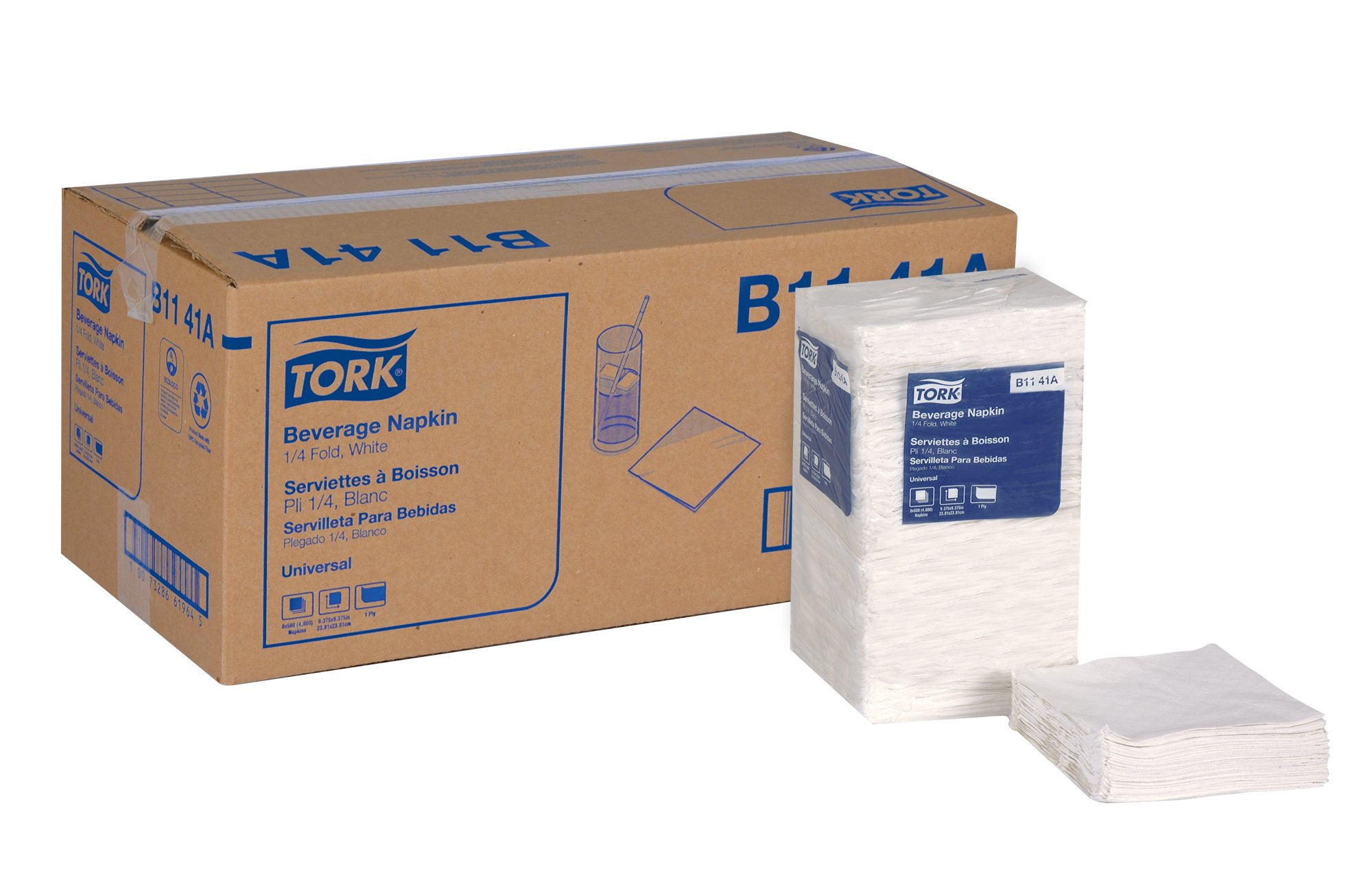 Tork Universal B1141A Beverage Napkin, 1-Ply, 1/4 Fold, 9.38'' Width x 9.38'' Length, White (Case of 8 Packs, 500 per Pack, 4,000 Napkins)