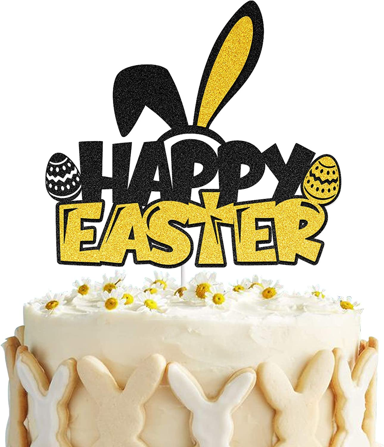 Happy Easter Cake Topper Bunny Rabbit Easter Egg Cake Decor for Spring Easter Party Decorations