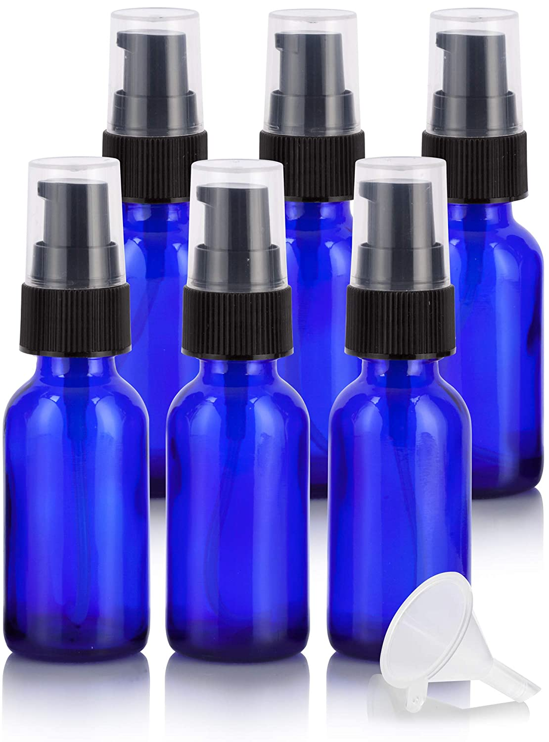 1 oz Cobalt Blue Glass Boston Round Treatment Pump Bottle 6 Pack Funnel for Essential Oils, Aromatherapy, Food Grade, bpa Free