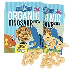 Pastabilities Organic Kids Pasta, Fun Dinosaur Shaped Noodles, Non-GMO Natural Wheat Pasta (12 oz, 2 Pack)