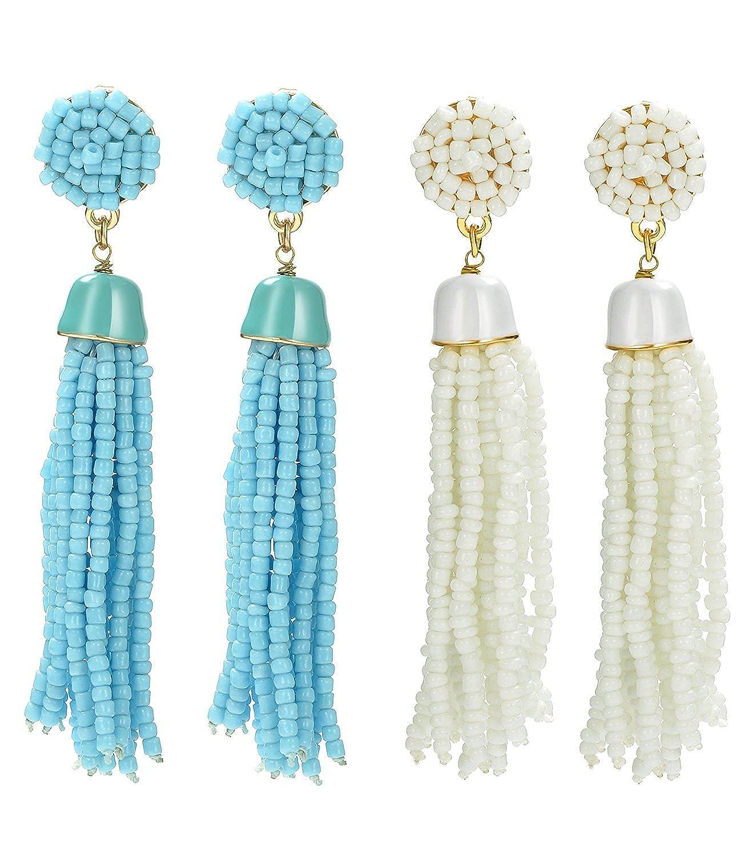 THUNARAZ 2 Pairs Long Tassel Earrings For Women Girl Beaded Fringe Dangle Ear Drops