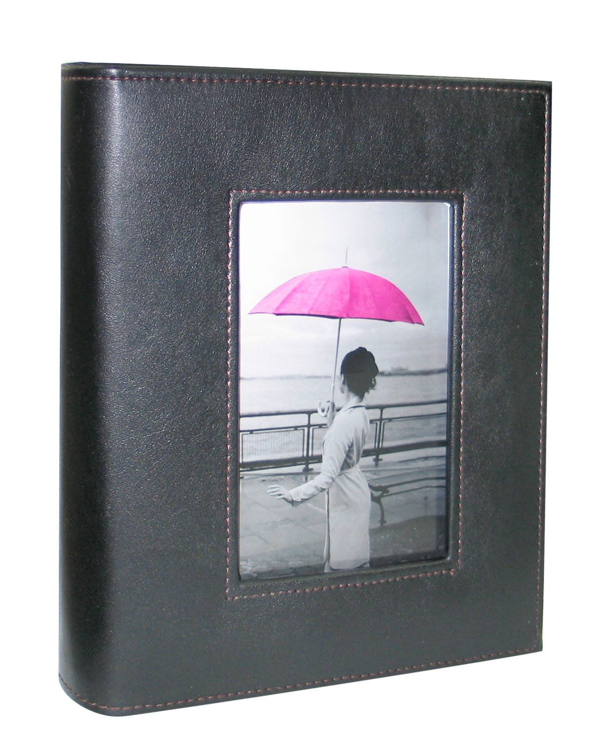 Kleer Vu Photo Album, Leatherette Hand Crafted Collection, Holds 200 4x6 Photos 2 Per Page, with Large Frame Front Window on Cover Color: Black Kleer-Vu Deluxe Albums Inc. ELEKTR-DE-8139918