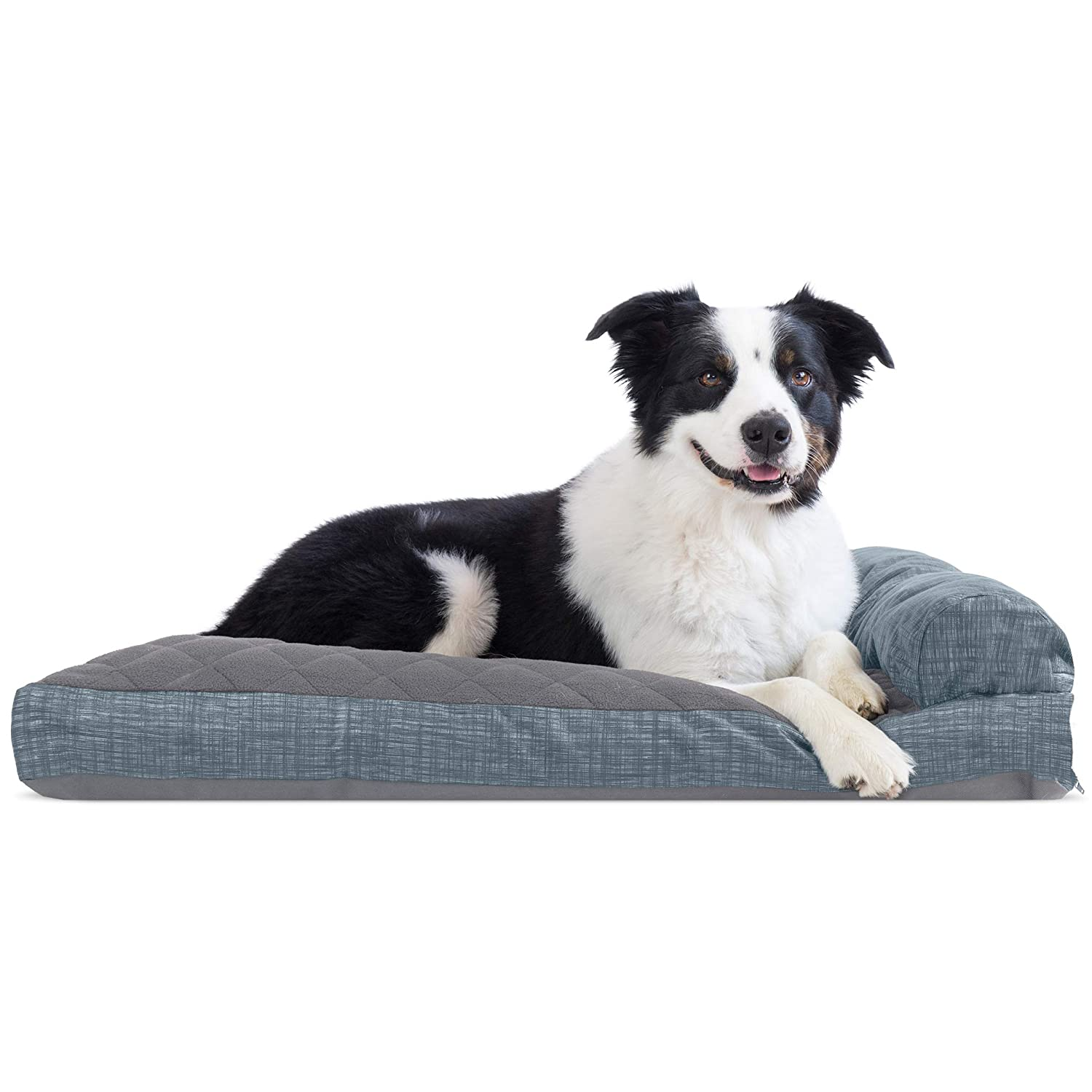 One Sided Titanium L One Sided Titanium L Furhaven Pet Dog Bed   Quilted Fleece & Print Suede Chaise Lounge Pillow Sofa-Style Pet Bed for Dogs & Cats, Titanium, Large
