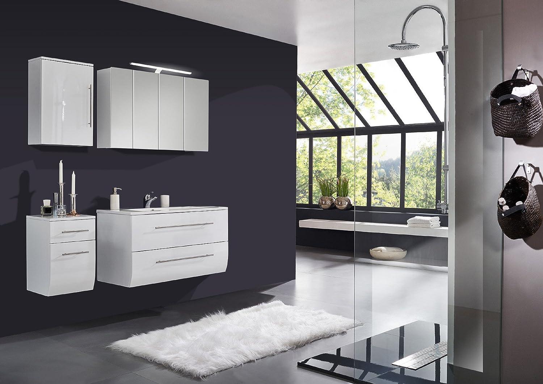 sam badm bel set niagara 4tlg 120 cm hochglanz wei mit mineralguss waschbecken softclose. Black Bedroom Furniture Sets. Home Design Ideas