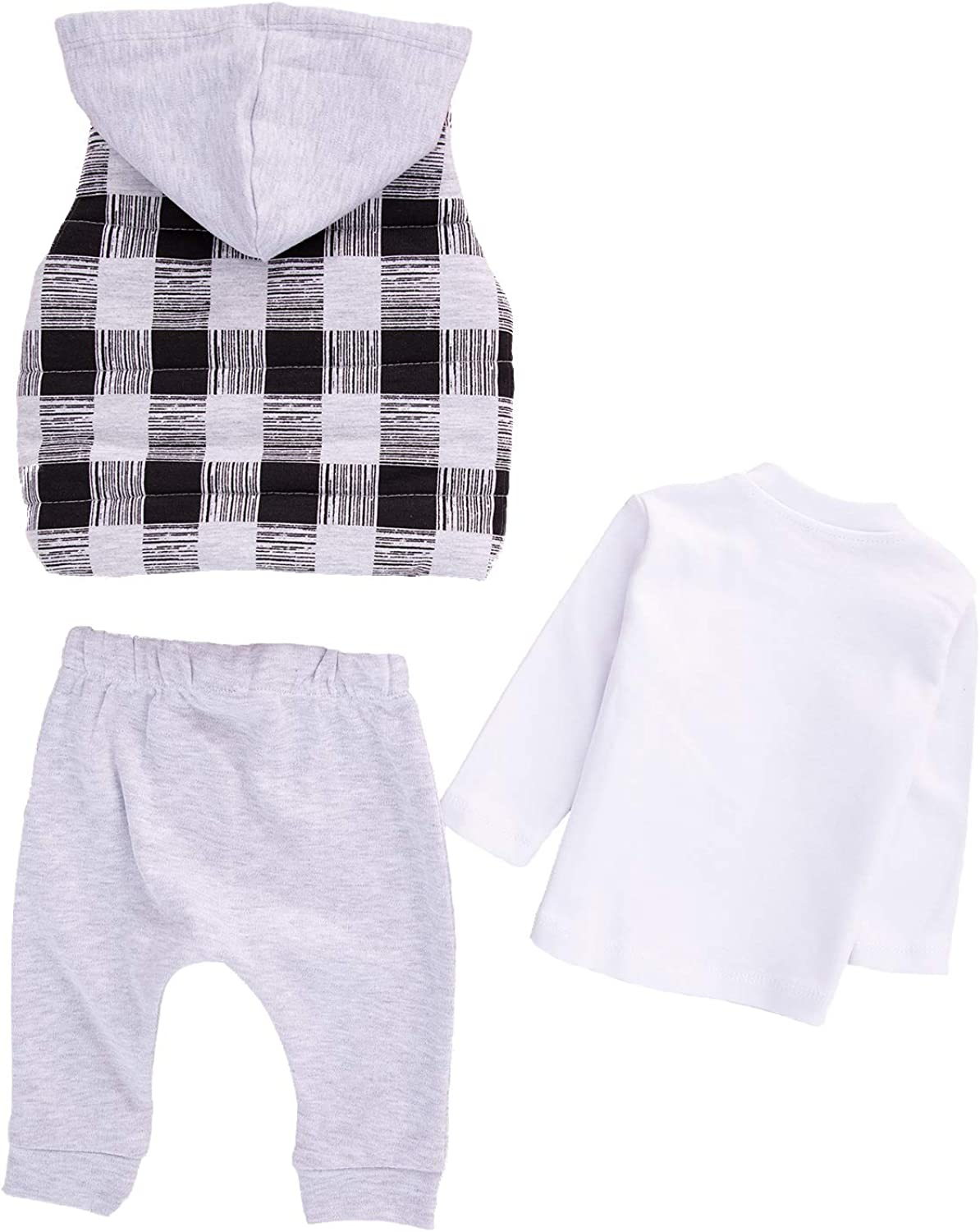 Hippil Baby Newborn Girls or Boys Baby Clothes 3-Piece Outerwear Set with Vest T-Shirt with Sweatpant