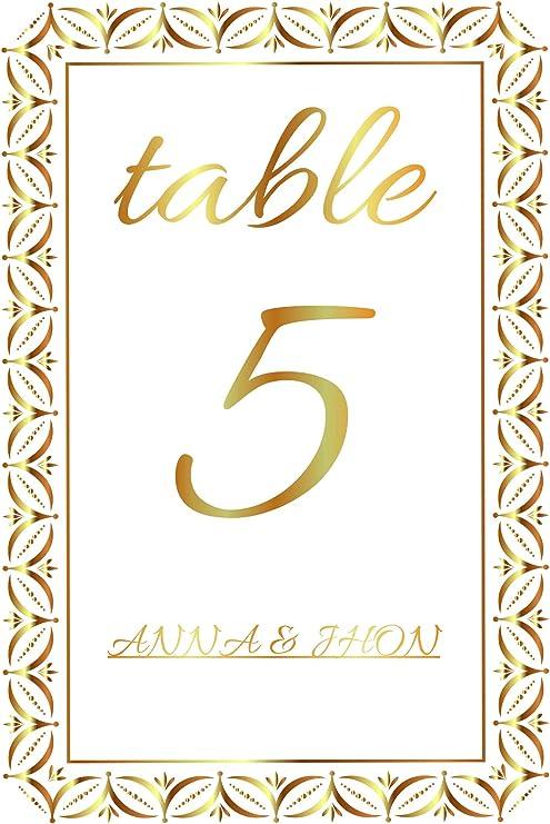 Tarjeta de números de mesa de boda con capas de marco dorado de 10 ...