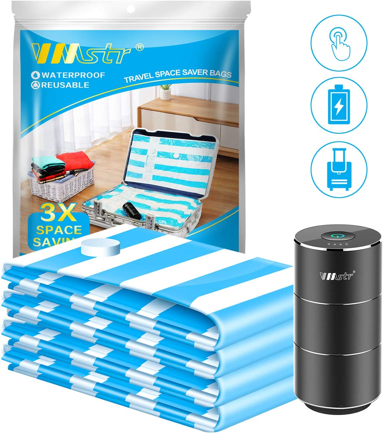 VMSTR Vacuum Storage Space Saver Bags with Rechargeable Electric Pump Reusable Compression Storage Bags for Home Use and Travel (4 Pack)