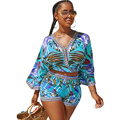 Sexy Two Piece Shorts Set - African Floral Jumpsuits Rompers Vacation Club Outfit: Clothing