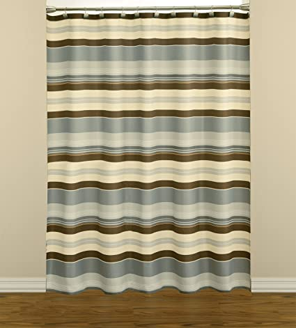 Saturday Knight Madison Stripe Fabric Shower Curtain Blue