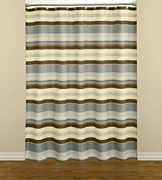 Saturday Knight Madison Stripe Fabric Shower Curtain, Blue