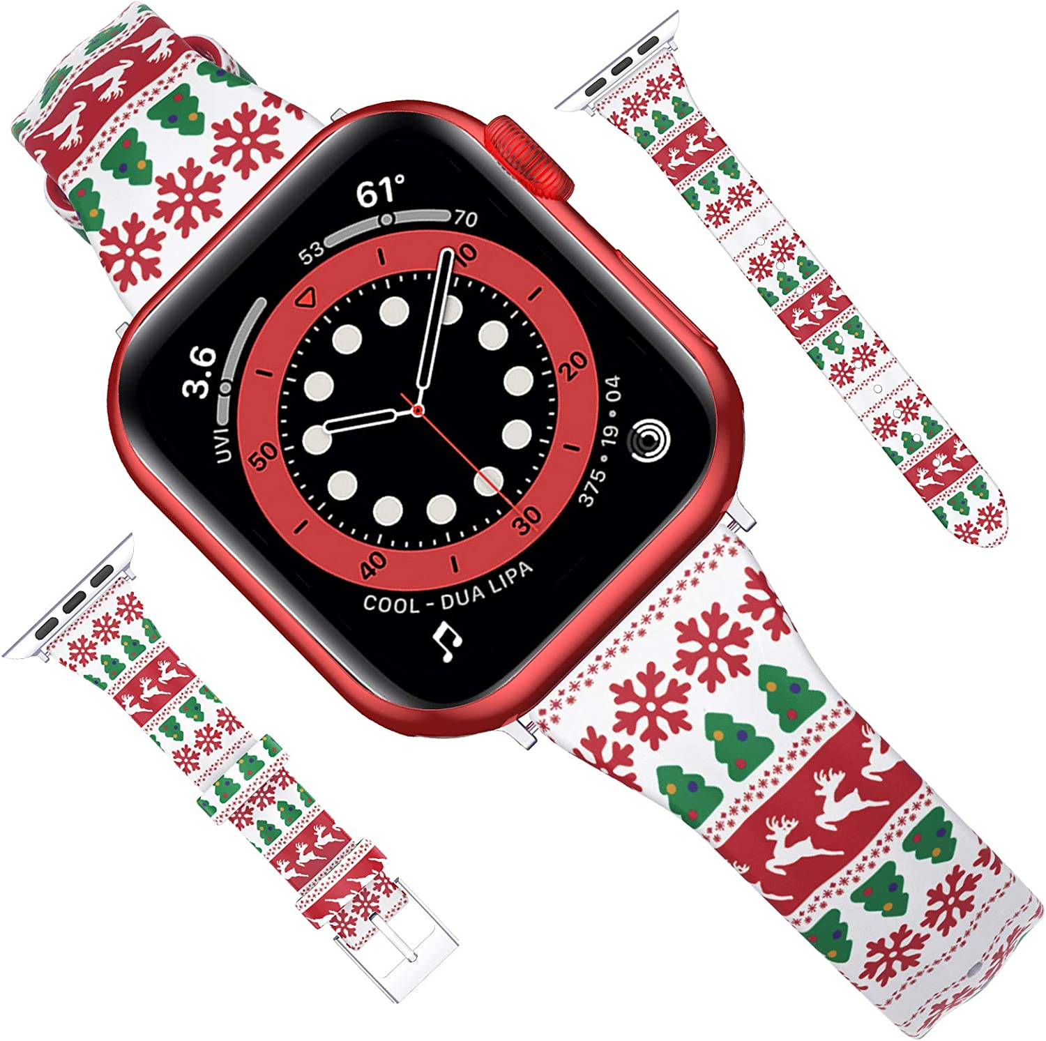 Goton Compatible for Apple Watch Band 38mm 40mm Leather, Women Girl Soft Slim Christmas Snowflake Elk Genuine Leather Straps for iWatch SE Series 6 5 4 3 2 1 Band (ChristmasElements, 38mm/40mm)