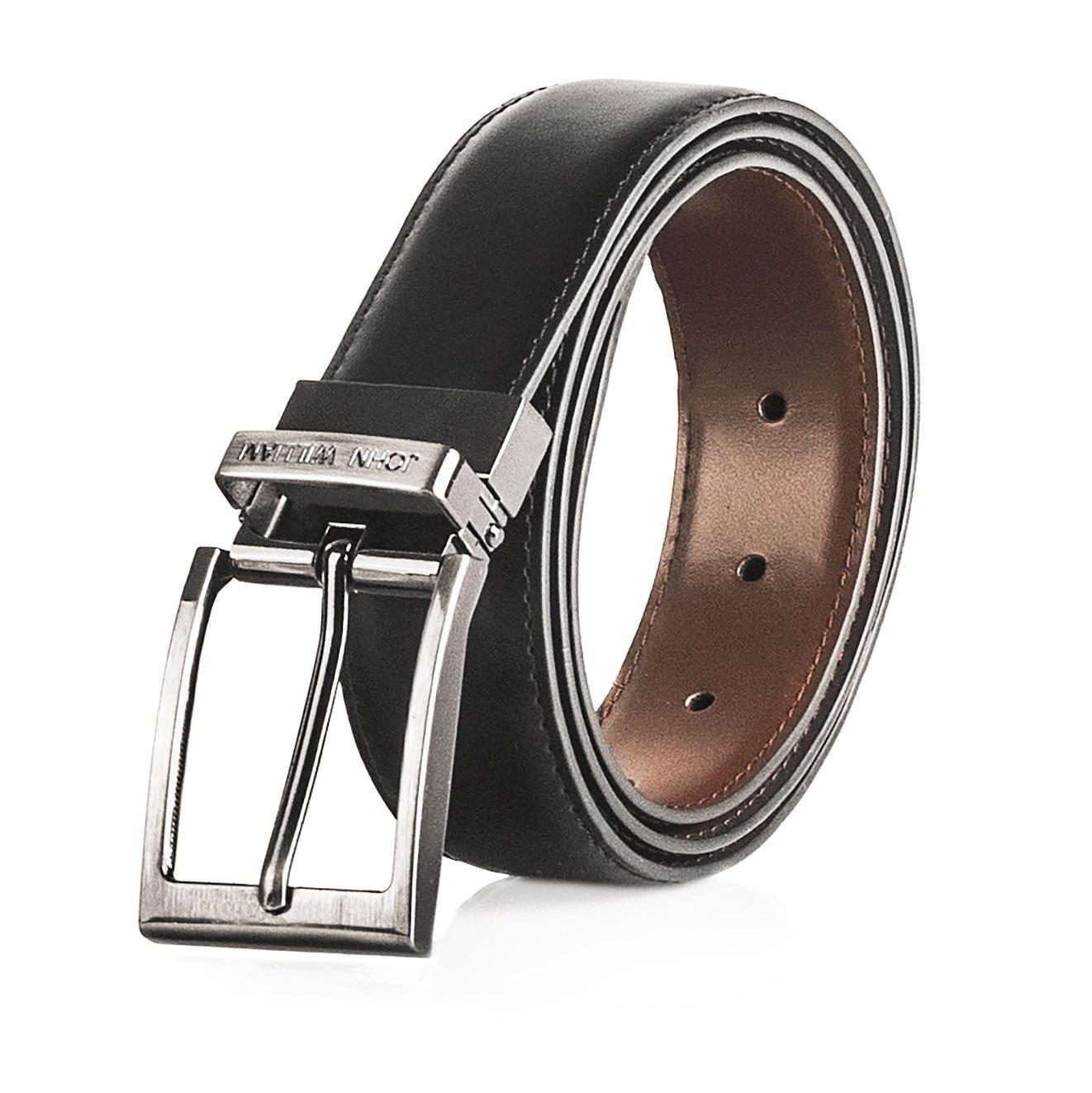 Men's Genuine Leather Swivel Reversible Black & Brown Dress Belt: Mens belts for Business or Formal Wear - 42