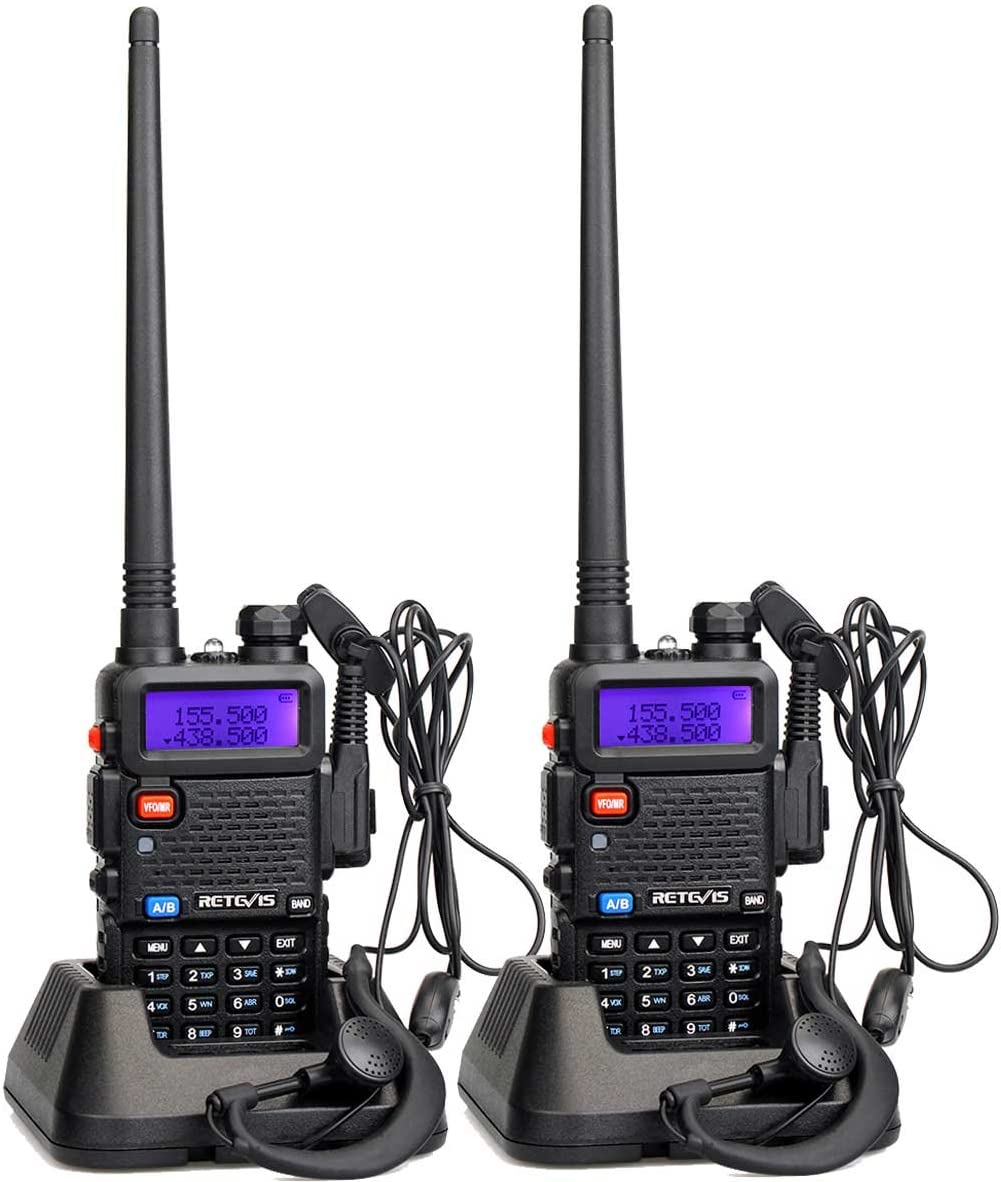 Retevis RT-5R Dual Band Two Way Radio 128CH UHF/VHF Long Range Walkie Talkies for Adults with DTMF/CTCSS/DCS FM Ham Radio Transceiver (2 Pack)