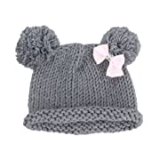 Bestknit Baby Girls Pompom Hat Props Crochet Knitted Pom Pom Hat Bow Beanie Small Gray